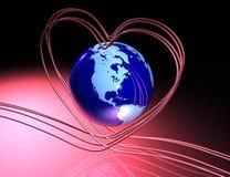 Amour autour de globe Image stock