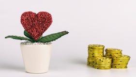 Amour avant concept d'argent sur le blanc Image libre de droits