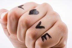 Amour avec des coeurs dessinés en main Images stock