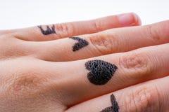 Amour avec des coeurs dessinés en main Photo stock