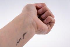 Amour avec des coeurs dessinés en main Photographie stock libre de droits