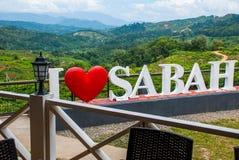 Amour blanc énorme Sabah du lettrage I Le Bornéo, Malaisie Photographie stock