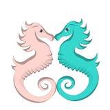 amour bleu et rose mignon de bande dessinée d'hippocampe illustration stock