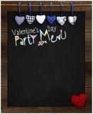 Amour bleu et rouge de tableau de menu de partie de Saint-Valentin de guingan Photographie stock libre de droits