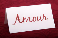 Amour card (love). Amour french word on card (love) for valentine's day royalty free stock photos
