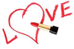 Amour, coeur et rouge à lievres de mot Photographie stock