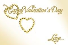 Amour Coeurs d'or sur le fond blanc D'isolement avec l'abondance de la pièce pour votre texte illustration stock