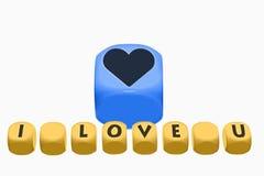 Amour, concepts et idées sur des cubes Images libres de droits