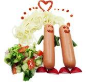 Amour créatif de dîner de nourriture de spaghetti Images libres de droits