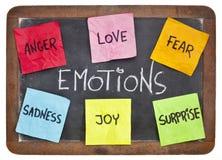 Amour, crainte, joie, colère, surprise et tristesse Images libres de droits