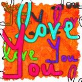 Amour d'écriture vous fond d'image avec des couleurs vibrantes illustration libre de droits