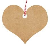 Amour d'étiquette de cadeau en forme de coeur avec de la ficelle Photographie stock