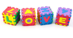 Amour d'alphabet apprenant des blocs Image stock