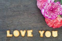 Amour d'alphabet vous et oeillet Photo libre de droits