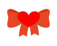 Amour d'arc Ruban rouge avec le noeud d'amour Symbole de coeur et de rouge Images libres de droits