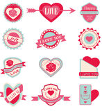 Amour d'ensemble de label et Saint-Valentin heureuse Photos stock