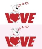 Amour d'inscription avec le coeur et le chiot gai pour le jour de valentines illustration stock