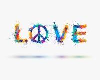 Amour d'inscription d'aquarelle avec le signe de la paix Vecteur illustration de vecteur