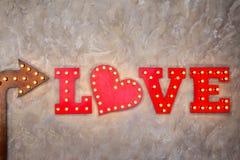Amour d'inscription fait dans le rétro style Images libres de droits