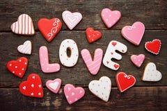 Amour d'inscription par des biscuits Image stock