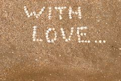 amour d'inscriptions de plage Photographie stock