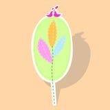 Amour d'oiseaux sur des feuilles dans la coupe de papier illustration libre de droits