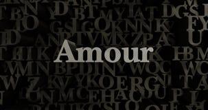 Amour - 3D rendered metallic typeset headline illustration Stock Photo