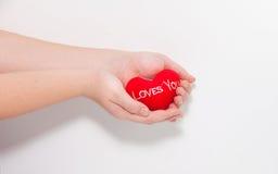 Amour dans des mains Photographie stock libre de droits