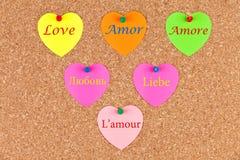 Amour dans différentes langues Image libre de droits