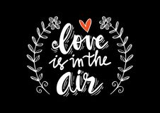 Amour dans la citation de lettrage de main d'air illustration stock