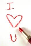 Amour dans le rouge à lèvres rouge Photos libres de droits