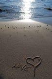 Amour dans le sable Photographie stock libre de droits