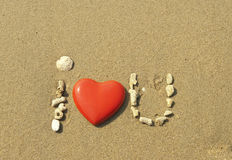 Amour dans le sable Photo libre de droits