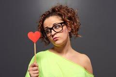 Amour de attente de jeune femme Images libres de droits
