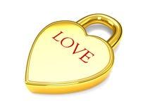 amour de blocage de coeur d'or Image stock