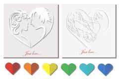 Amour de cartes «juste». silhouettes des personnes. Photographie stock libre de droits