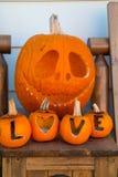 Amour de charme de potirons découpé par orange Images libres de droits