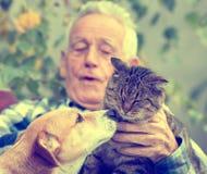 Amour de chien et de chat Image libre de droits