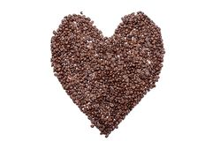 Amour de coeur des grains de café, d'isolement sur le fond blanc Photo libre de droits