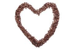 Amour de coeur des grains de café, d'isolement sur le fond blanc Images libres de droits