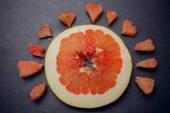Amour de concept de fruit de pamplemousse d'agrume Image libre de droits