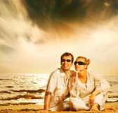 amour de couples de plage Photos libres de droits
