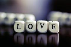 Amour de cube en textes Image stock
