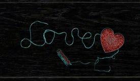 Amour de ` d'inscription de fil Images stock