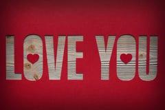 Amour de ` d'inscription que vous ` avez coupé dans le papier rouge Images libres de droits