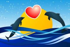 Amour de dauphin Photos libres de droits