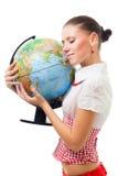 Amour de femme la terre de planète Photos libres de droits