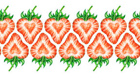 Amour de fraise Dessin coloré de fraise d'aquarelle Frontière sans couture de cadre d'aquarelle Photo stock