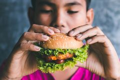Amour de garçons pour manger l'hamburger Photos stock