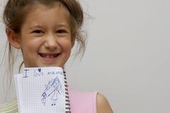 Amour de l'écriture I de petite fille ma maman Photo stock